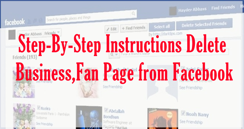 steps to Business or Fan Pages delete